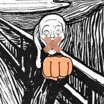 Edvard Munch, der Schrei, mit Faust und zugeklebtem Mund