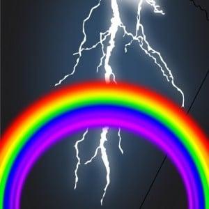 Regenbogen und Blitz